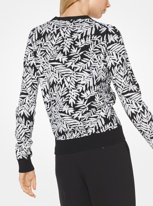 Michael Kors Palm Sequined Cashmere Pullover