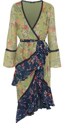 Love Sam Lace-Trimmed Ruffled Floral-Print Chiffon Wrap Dress