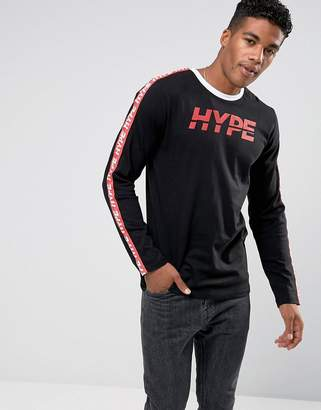 Hype Long Sleeve T-Shirt In Black With Taping