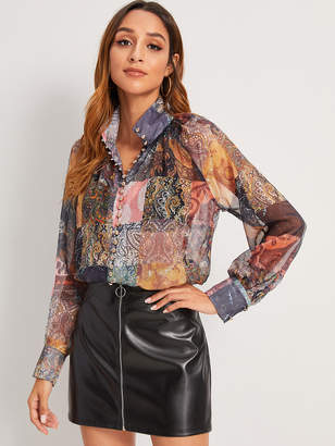 Shein Paisley Print Patchwork Blouse