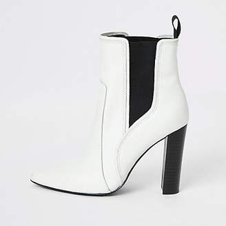 River Island White leather pointed western heel boots