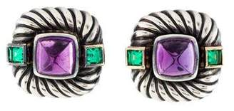 David Yurman Amethyst & Tourmaline Renaissance Clip-On Earrings