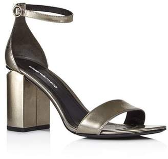 b3f4322a9d5 Alexander Wang Women s Abby Pewter Liquid Patent Leather Block Heel Sandals