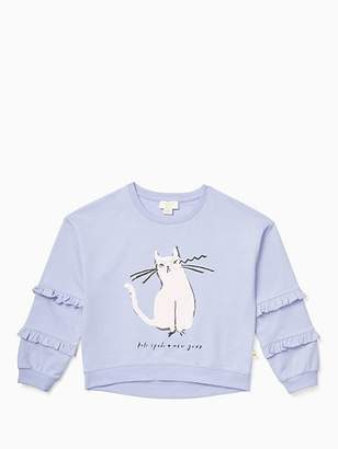 Kate Spade Girls cat glasses sweatshirt