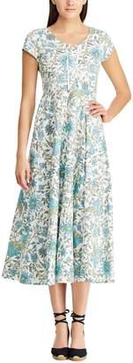 Chaps Women's Floral Midi Fit & Flare Dress