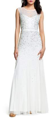 Adrianna Papell Illusion-Neck Beaded Godet Gown