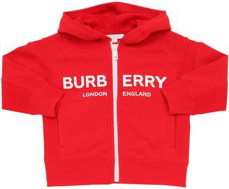 Burberry Logo Zip-Up Cotton Sweatshirt Hoodie