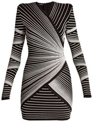 Balmain - Striped Knit Wrap Style Mini Dress - Womens - Black White