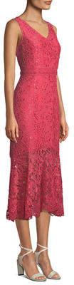 Nanette Lepore Nanette Lace V-Neck Flounce-Hem Midi Dress