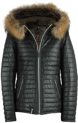 Oakwood Happy Black Leather Fur Trim Hooded Jacket