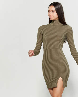 Derek Heart Long Sleeve Ribbed Mock Neck Bodycon Dress