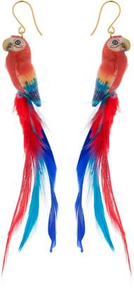 Nach Red Parrot Earrings With Feathers