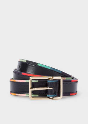 Paul Smith Women's Navy 'Artist Stripe' Edge Leather Belt