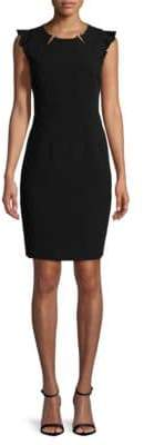 T Tahari Chassity Faux Pearl Ruffle Sleeve Dress