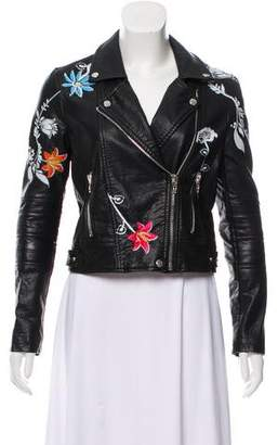 Blank NYC Painted Embroidered Leather Jacket