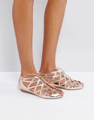 Office Leather Cutout Flat Sandals