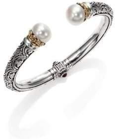 Konstantino Hermione 15MM White Pearl, 18K Yellow Gold& Sterling Silver Cuff Bracelet