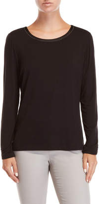 Lafayette 148 New York Black Charmeuse Trim Tee