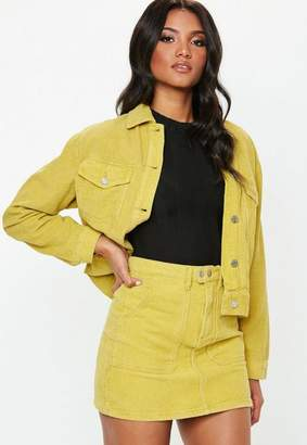 Missguided Yellow Cord Mini Skirt Co-Ord, Yellow