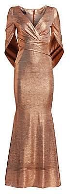 Talbot Runhof Women's Criss-Cross Cape Metallic Gown