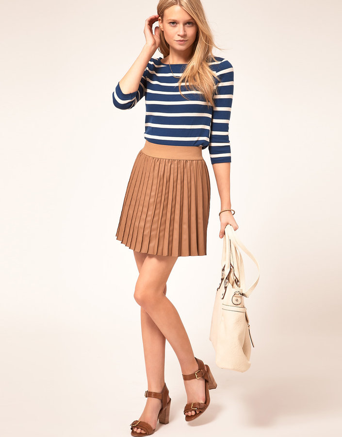 Oasis Leather Look Pleated Skirt