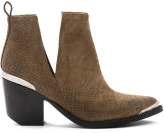 Jeffrey Campbell Cromwell Taupe Embossed Suede Western Cut Out Bootie
