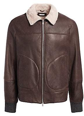Brunello Cucinelli Men's Leather& Shearling Jacket