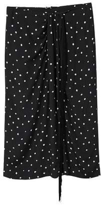 MANGO Fringed detail polka-dot skirt