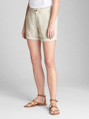 "Gap 5"" Girlfriend Utility Shorts with Metallic Detail in Linen"