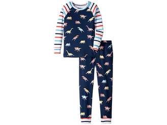 Hatley Glowing Fossils Organic Cotton Raglan Pajama Set (Toddler/Little Kids/Big Kids)