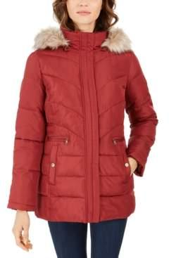 Larry Levine Faux-Fur-Trim Hooded Down Puffer Coat