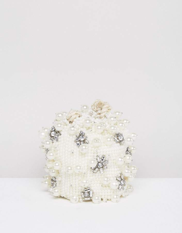 Asos ASOS BRIDAL Pearl Embellished Pouch Clutch Bag