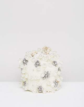 Asos BRIDAL Pearl Embellished Pouch Clutch Bag