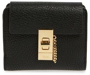 Chloé Women's Chloe 'Drew' Calfskin Leather Square Wallet - Black