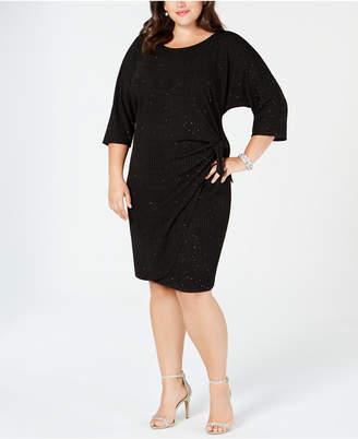 Robbie Bee Plus Size Faux-Wrap Glitter Dress
