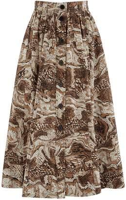 Ganni Long buttoned skirt