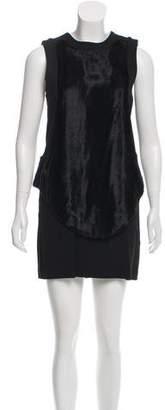 Daniel Vosovic Faux Fur-Accented Mini Dress