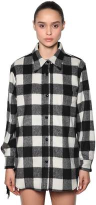 N°21 Wool Check Shirt Jacket W/ Sequin Fringe