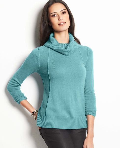 Ann Taylor Seamed Turtleneck Sweater