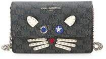 Karl Lagerfeld Paris Cat Face Leather Mini Crossbody Bag