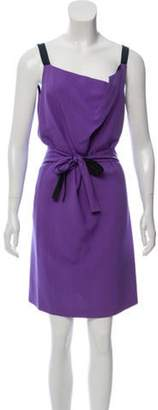 Narciso Rodriguez Silk Sash-Tie Mini Dress Violet Silk Sash-Tie Mini Dress