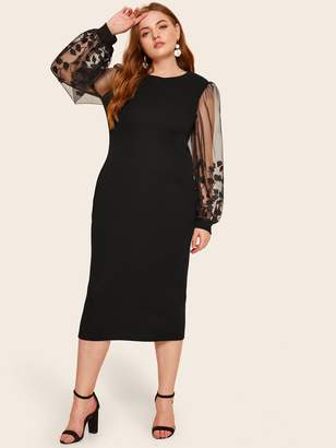120486e298 Shein Plus Embroidered Mesh Sheer Sleeve Pencil Dress
