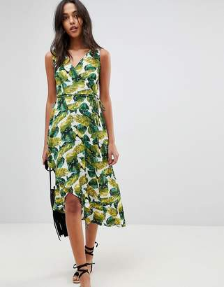 AX Paris Wrap Dress With Frill Palm Print