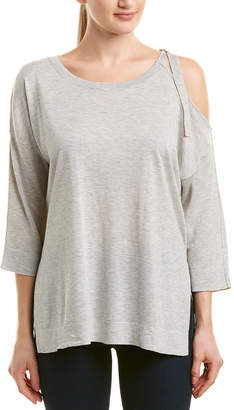 French Connection Cold-Shoulder Silk-Blend Top