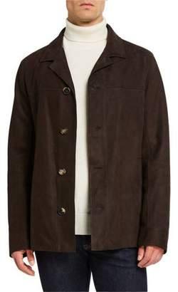 Ajmone Men's Suede Button-Front Jacket