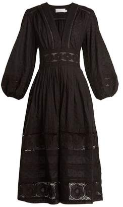 Zimmermann Prima Polka Dot Embroidered Cotton Dress - Womens - Black