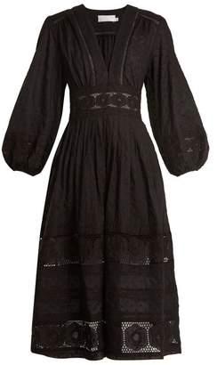 Zimmermann - Prima Polka Dot Embroidered Cotton Dress - Womens - Black
