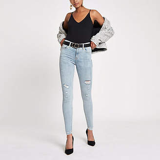 River Island Womens Mid Blue ripped Amelie super skinny jeans