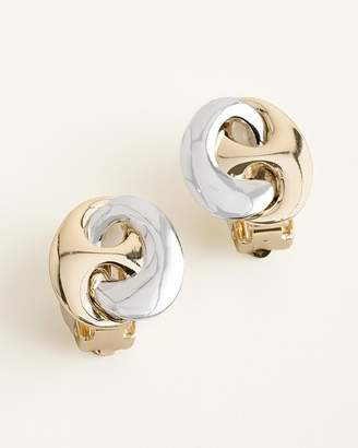 Chico's Chicos Sleek Mixed-Metal Clip-On Earrings