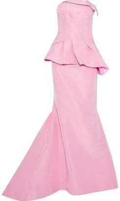 Oscar de la Renta Strapless Duchesse Silk-Satin Peplum Gown